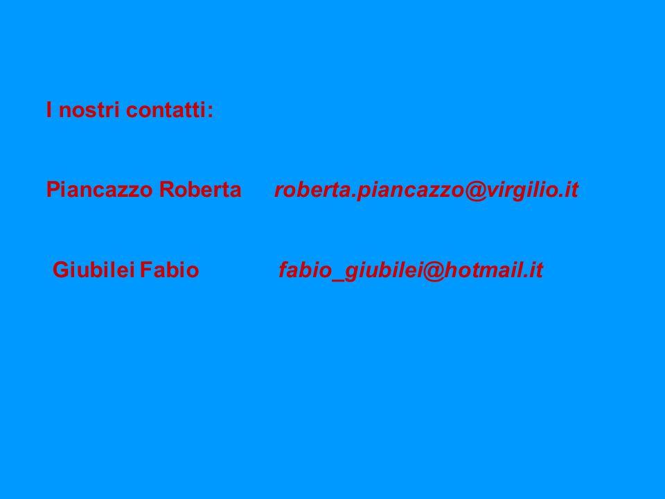 I nostri contatti: Piancazzo Roberta roberta.piancazzo@virgilio.it.