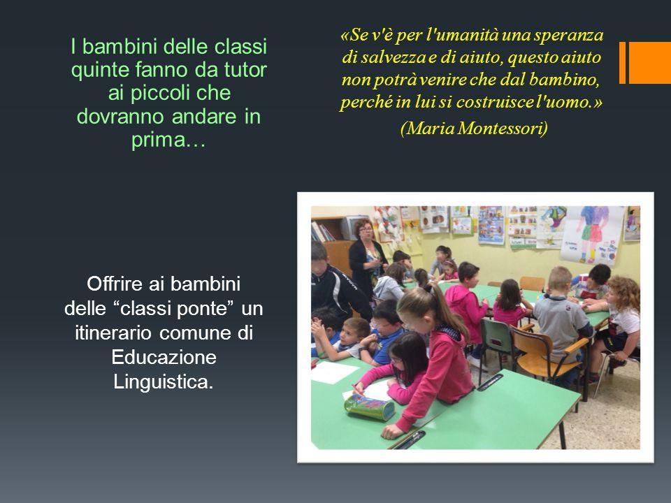 I bambini delle classi quinte fanno da tutor ai piccoli che dovranno andare in prima…