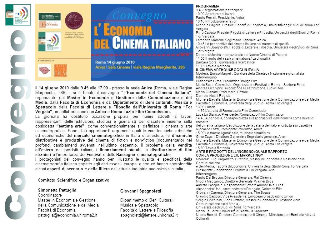 PROGRAMMA 9.45 Registrazione partecipanti. 10.00 Apertura dei lavori. Paolo Ferrari, Presidente, Anica.