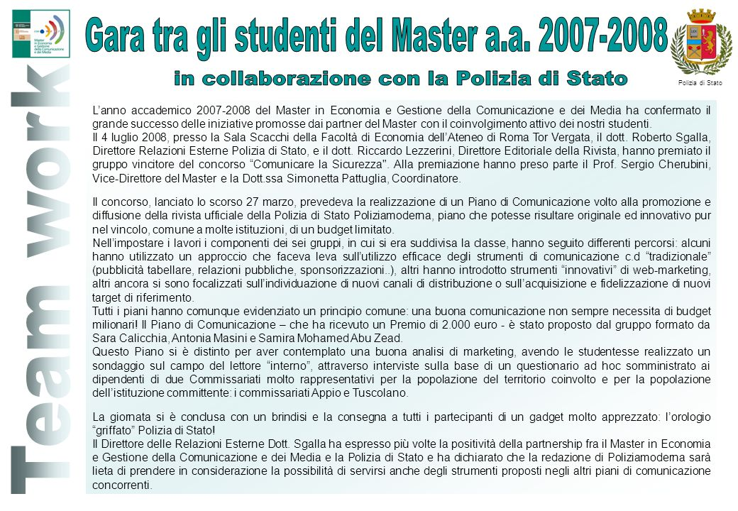 Gara tra gli studenti del Master a.a. 2007-2008