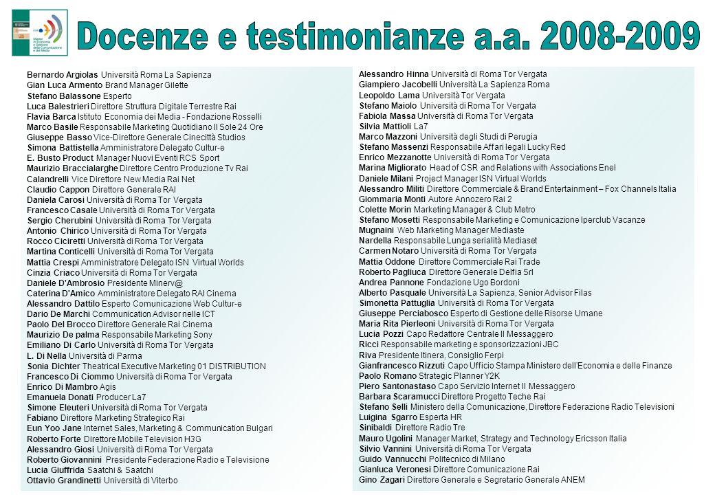 Docenze e testimonianze a.a. 2008-2009
