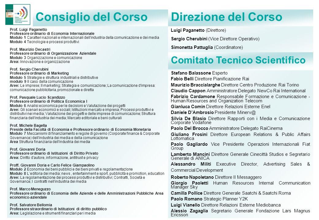 Consiglio del Corso Direzione del Corso Comitato Tecnico Scientifico