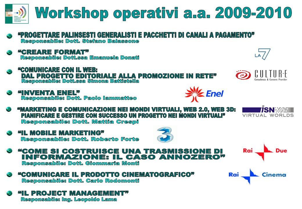 Workshop operativi a.a. 2009-2010