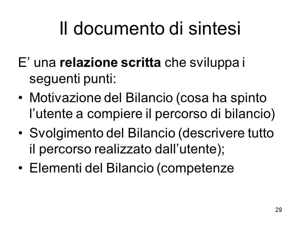 Il documento di sintesi