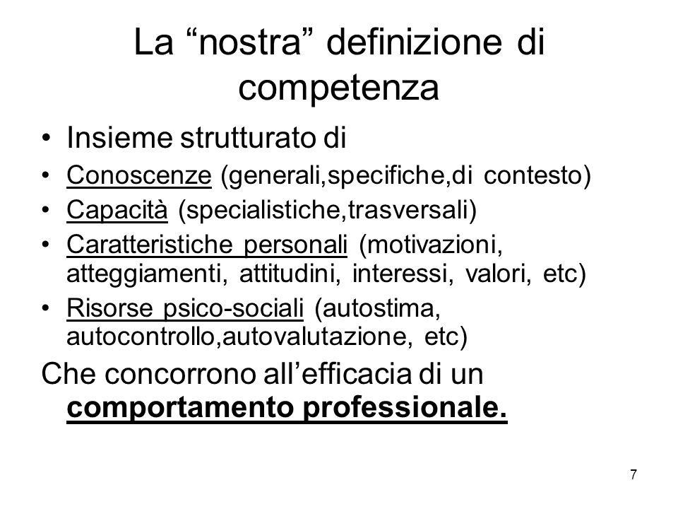 La nostra definizione di competenza