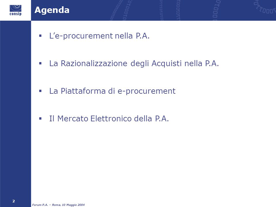 Agenda L'e-procurement nella P.A.
