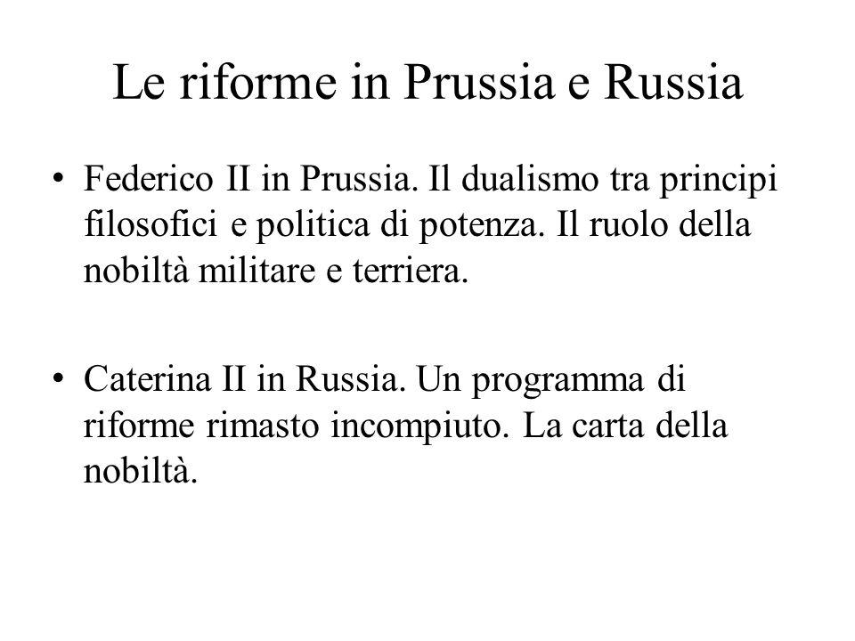 Le riforme in Prussia e Russia