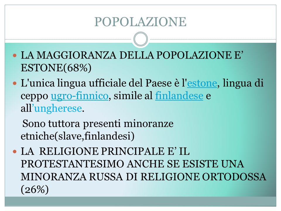 POPOLAZIONE LA MAGGIORANZA DELLA POPOLAZIONE E' ESTONE(68%)