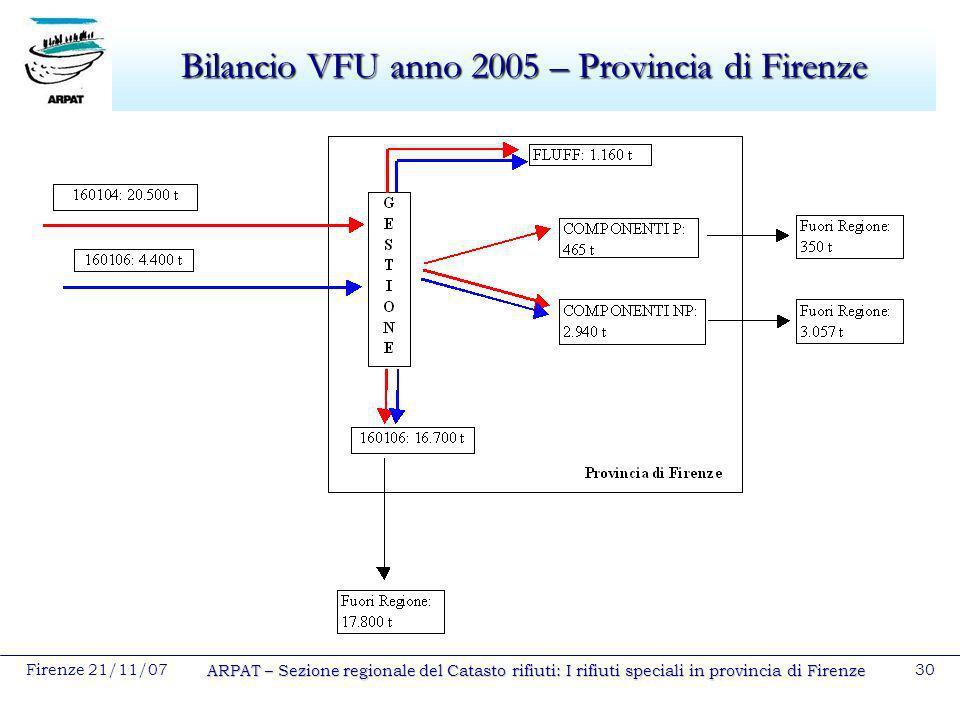 Bilancio VFU anno 2005 – Provincia di Firenze