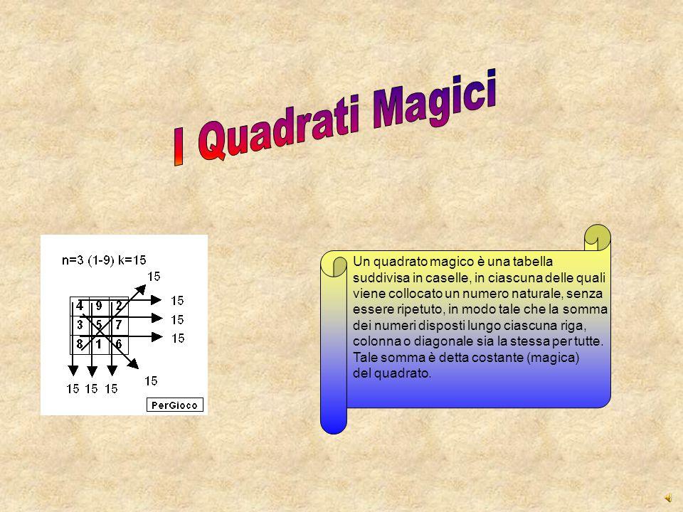 I Quadrati Magici Un quadrato magico è una tabella