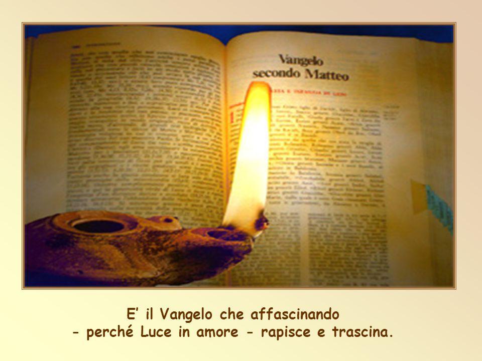 E' il Vangelo che affascinando - perché Luce in amore - rapisce e trascina.
