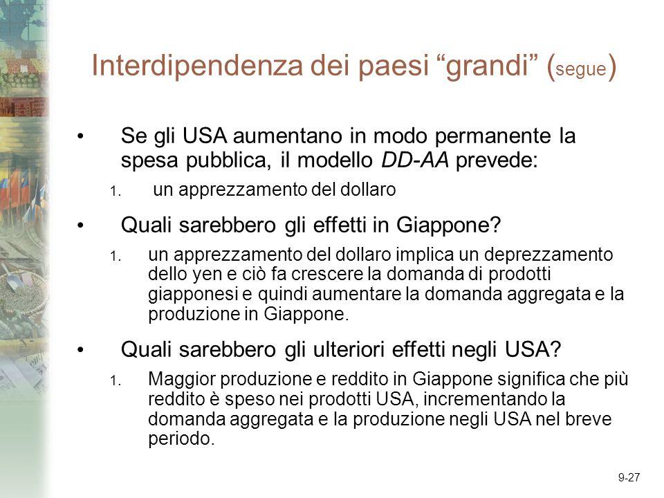 Interdipendenza dei paesi grandi (segue)