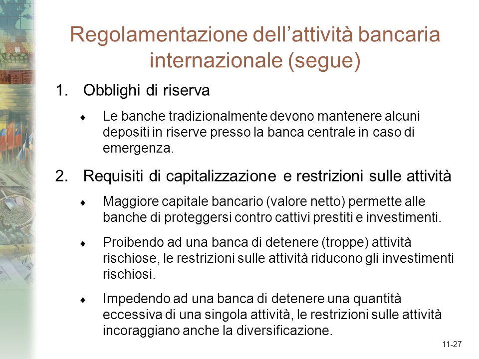 Regolamentazione dell'attività bancaria internazionale (segue)