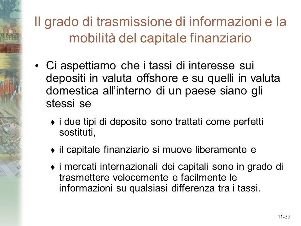 Il grado di trasmissione di informazioni e la mobilità del capitale finanziario