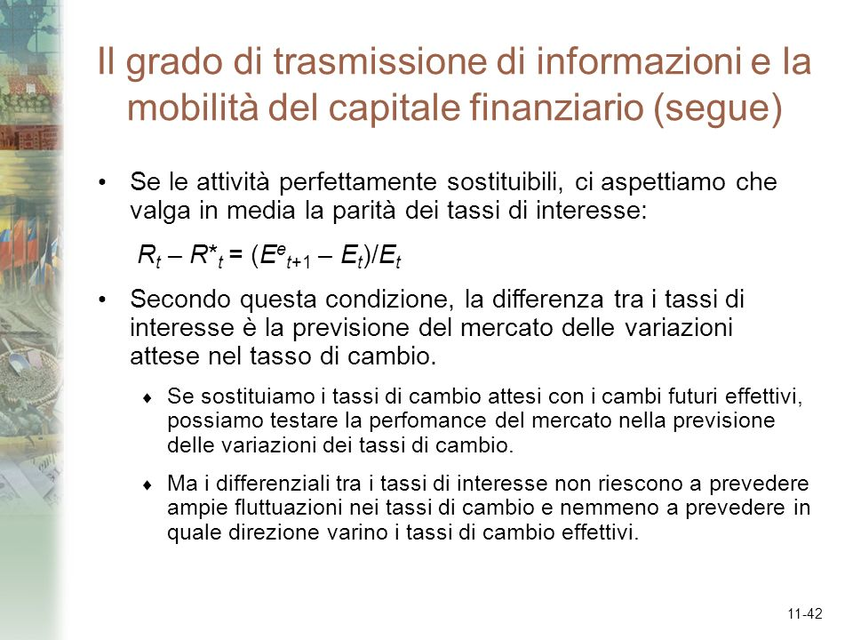 Il grado di trasmissione di informazioni e la mobilità del capitale finanziario (segue)