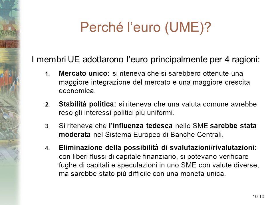 Perché l'euro (UME) I membri UE adottarono l'euro principalmente per 4 ragioni: