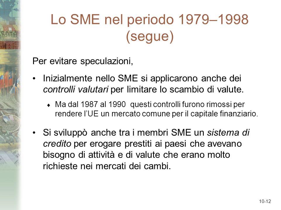 Lo SME nel periodo 1979–1998 (segue)