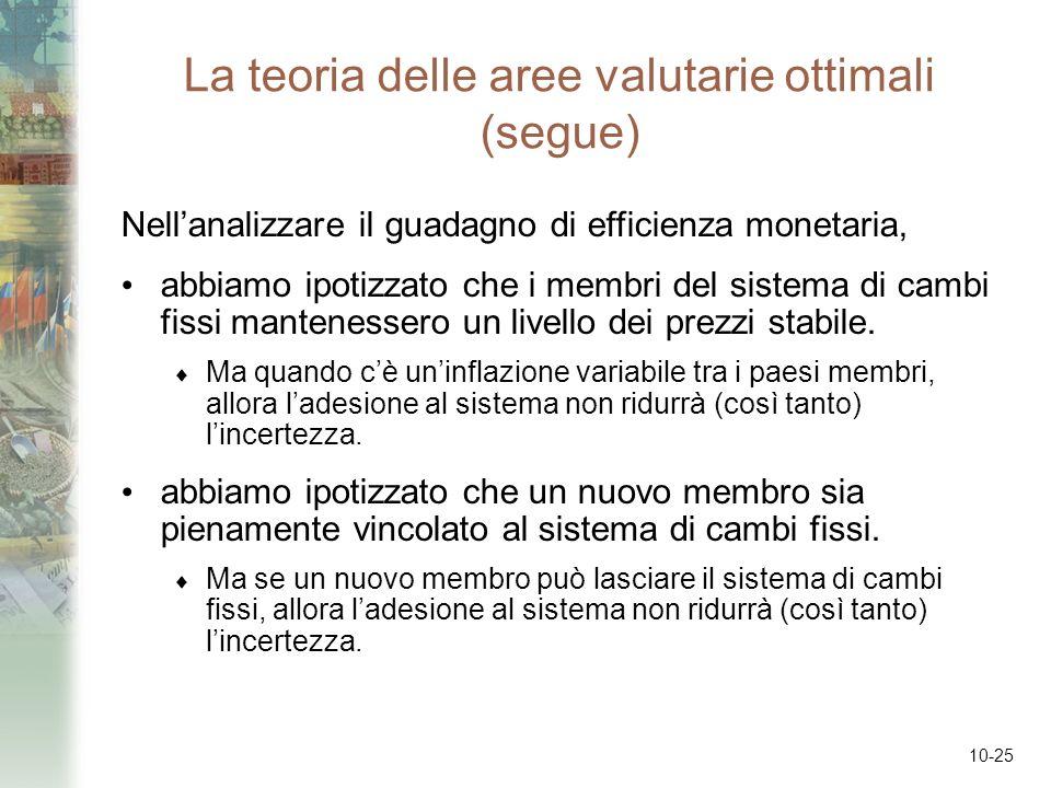 La teoria delle aree valutarie ottimali (segue)
