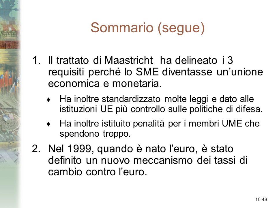 Sommario (segue) Il trattato di Maastricht ha delineato i 3 requisiti perché lo SME diventasse un'unione economica e monetaria.