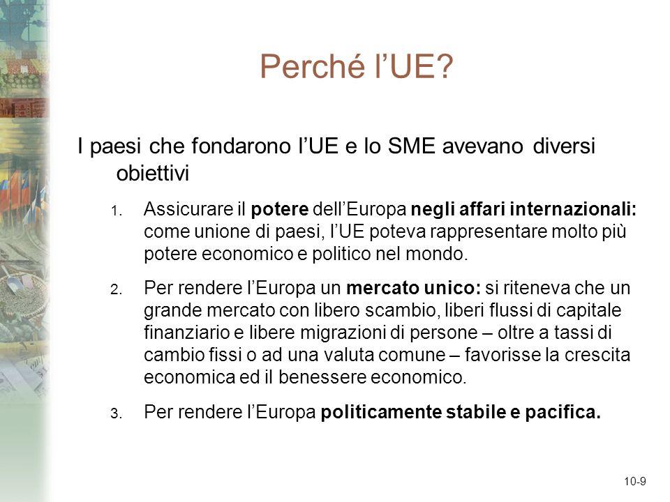 Perché l'UE I paesi che fondarono l'UE e lo SME avevano diversi obiettivi.