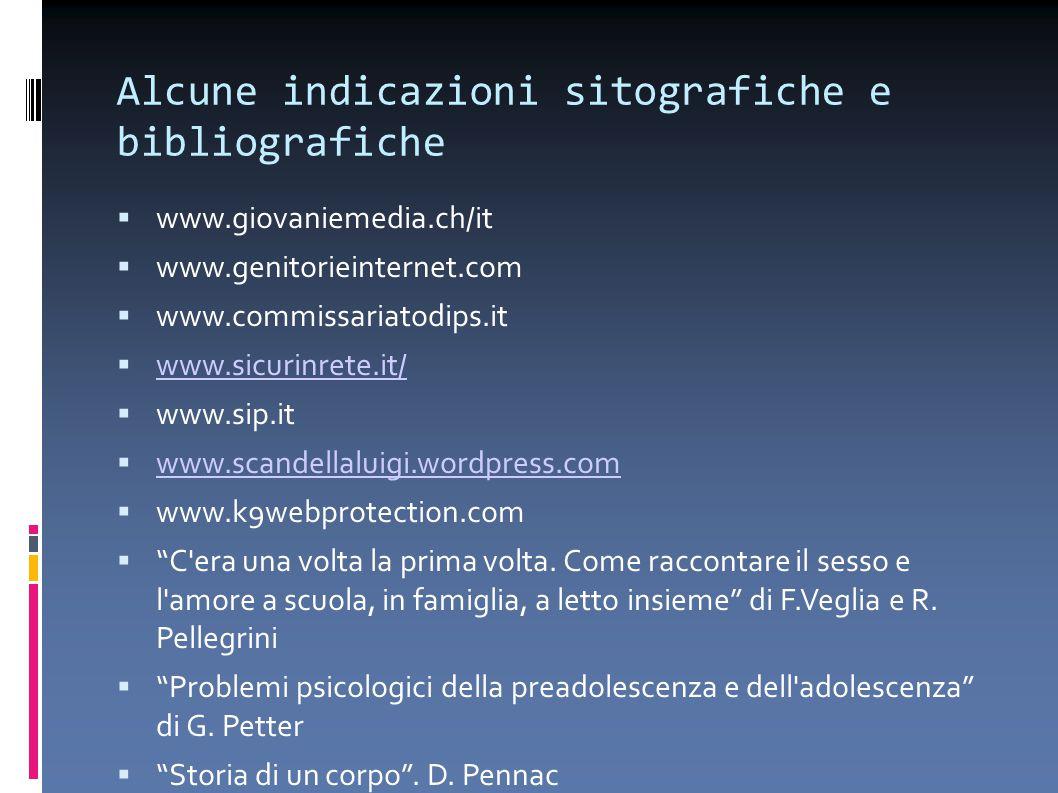 Alcune indicazioni sitografiche e bibliografiche