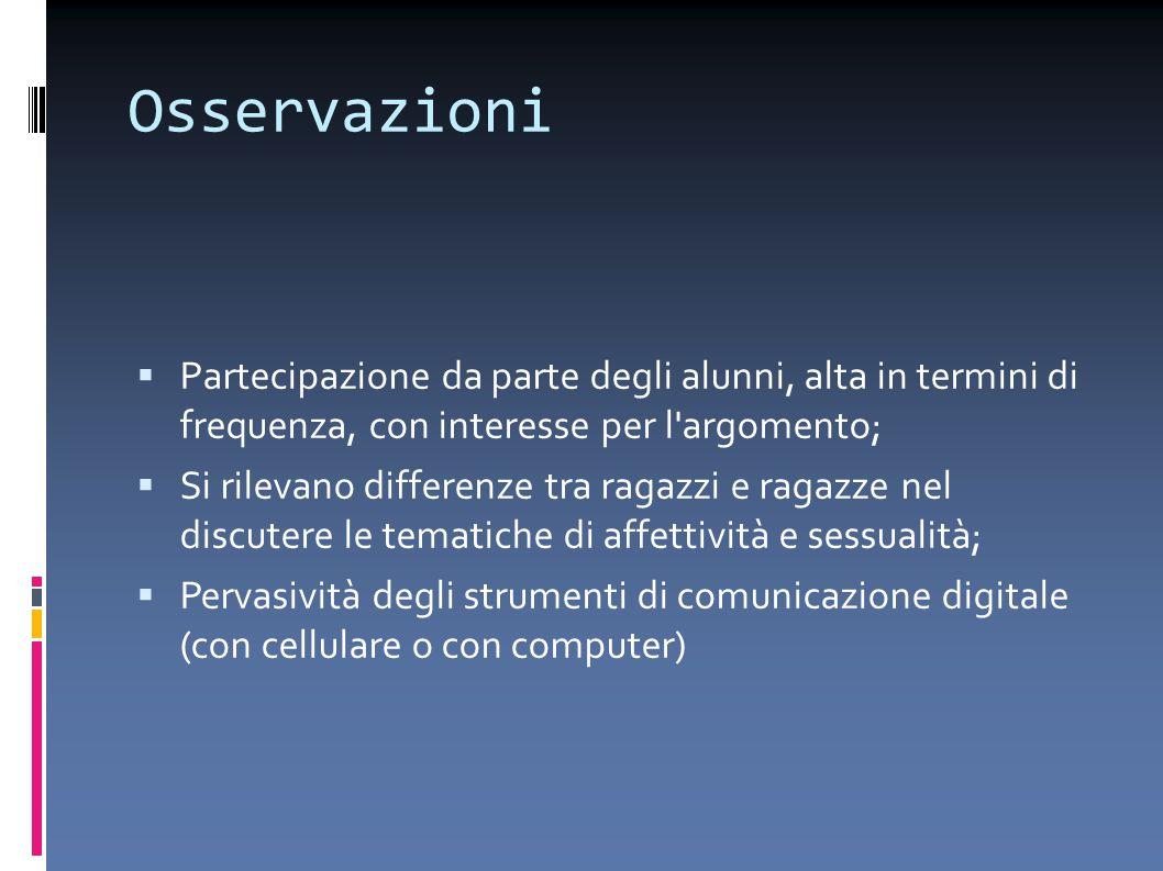Osservazioni Partecipazione da parte degli alunni, alta in termini di frequenza, con interesse per l argomento;