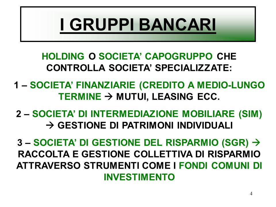HOLDING O SOCIETA' CAPOGRUPPO CHE CONTROLLA SOCIETA' SPECIALIZZATE: