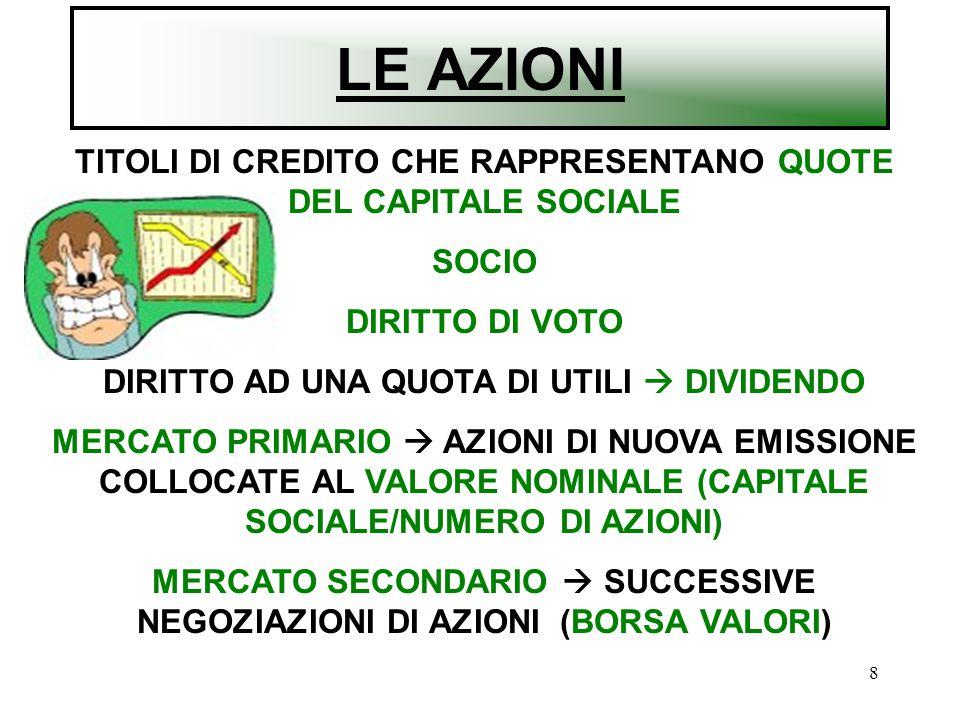LE AZIONI TITOLI DI CREDITO CHE RAPPRESENTANO QUOTE DEL CAPITALE SOCIALE. SOCIO. DIRITTO DI VOTO.