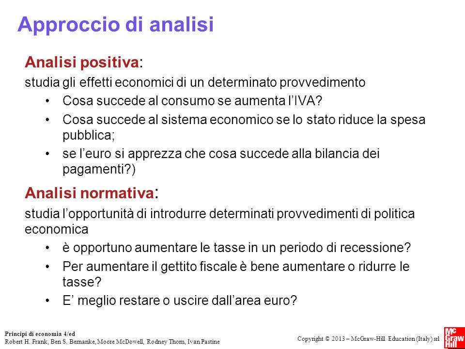 Approccio di analisi Analisi positiva: Analisi normativa: