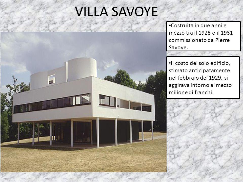 VILLA SAVOYE Costruita in due anni e mezzo tra il 1928 e il 1931 commissionato da Pierre Savoye.