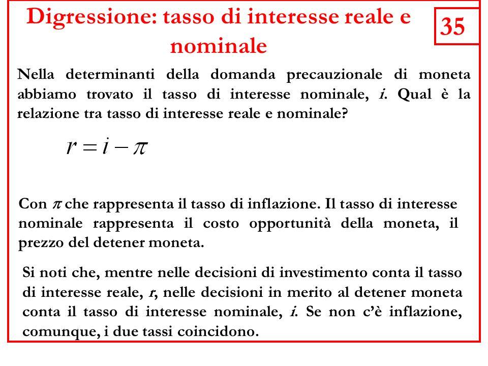 Digressione: tasso di interesse reale e nominale