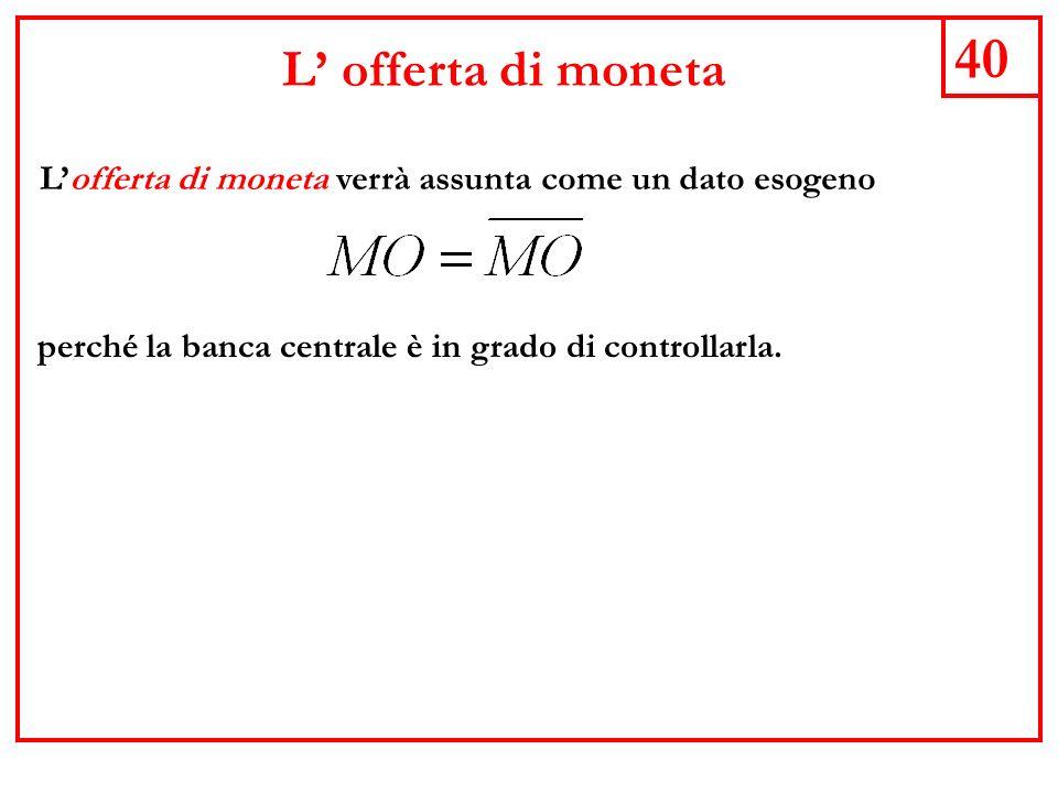 L' offerta di moneta 40. L'offerta di moneta verrà assunta come un dato esogeno.