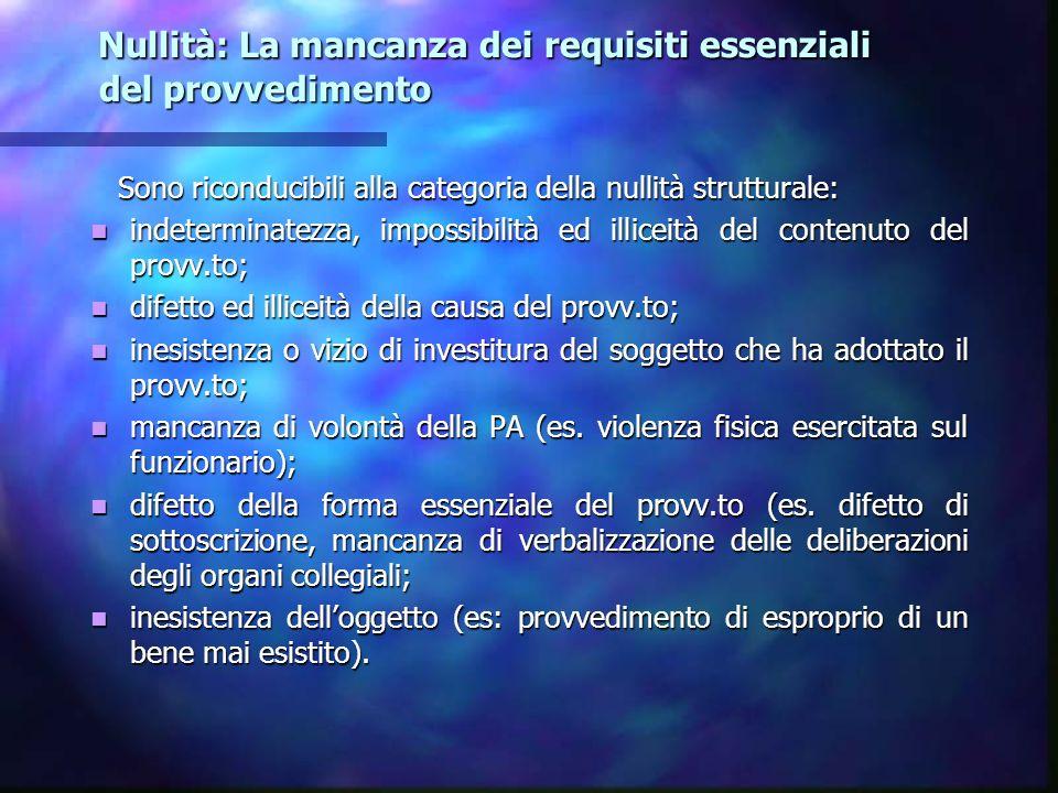 Nullità: La mancanza dei requisiti essenziali del provvedimento