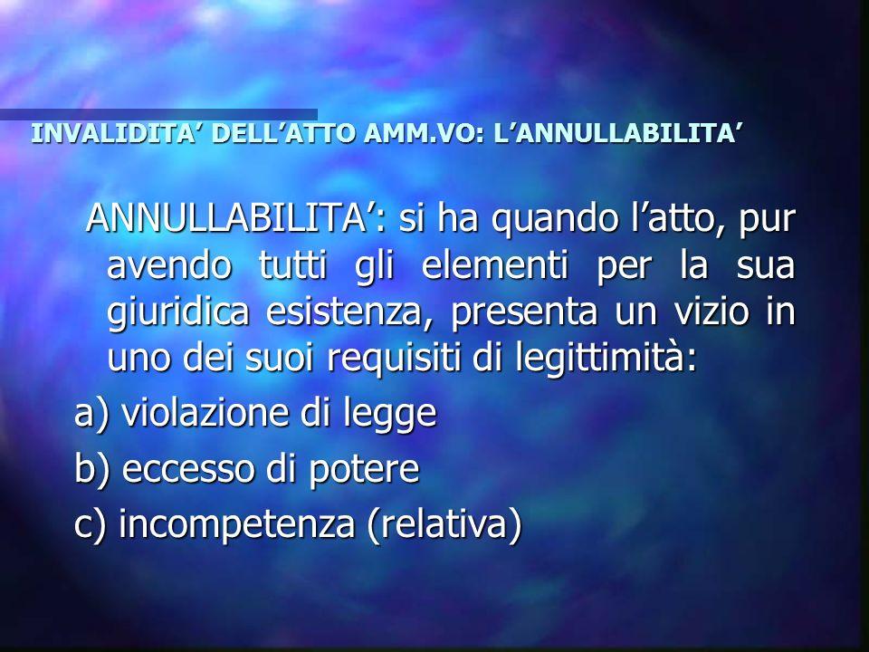 INVALIDITA' DELL'ATTO AMM.VO: L'ANNULLABILITA'