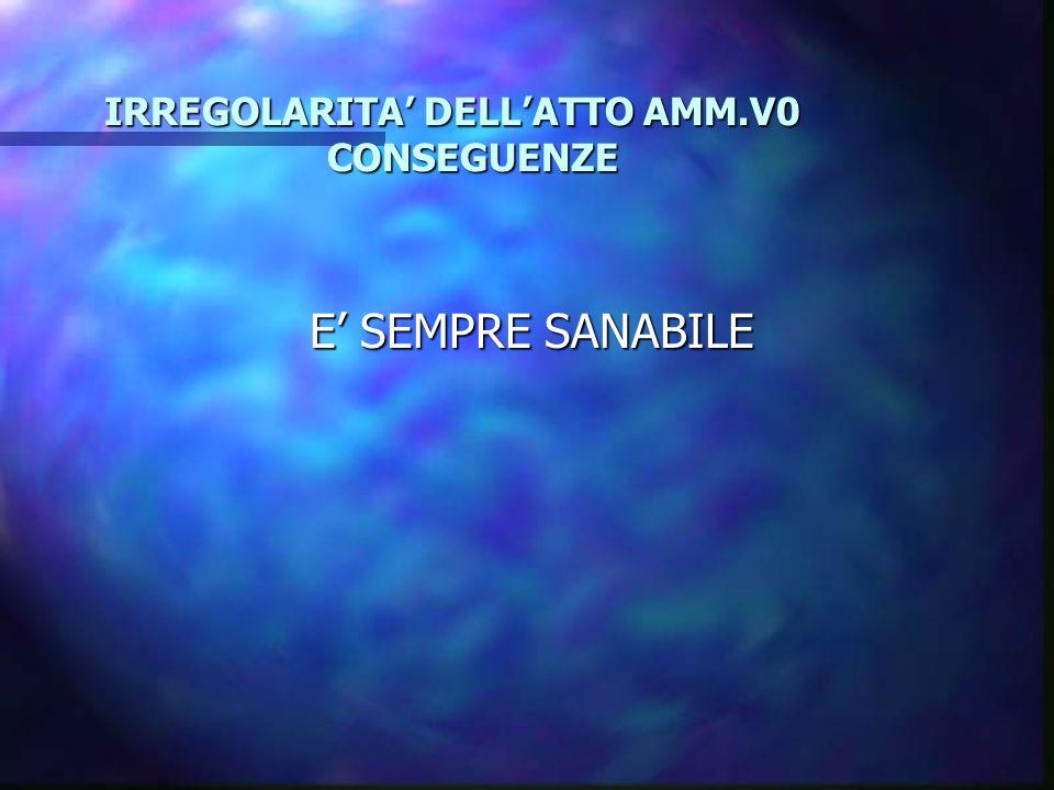 IRREGOLARITA' DELL'ATTO AMM.V0 CONSEGUENZE