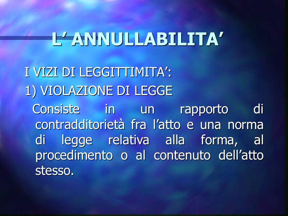 L' ANNULLABILITA' I VIZI DI LEGGITTIMITA': 1) VIOLAZIONE DI LEGGE