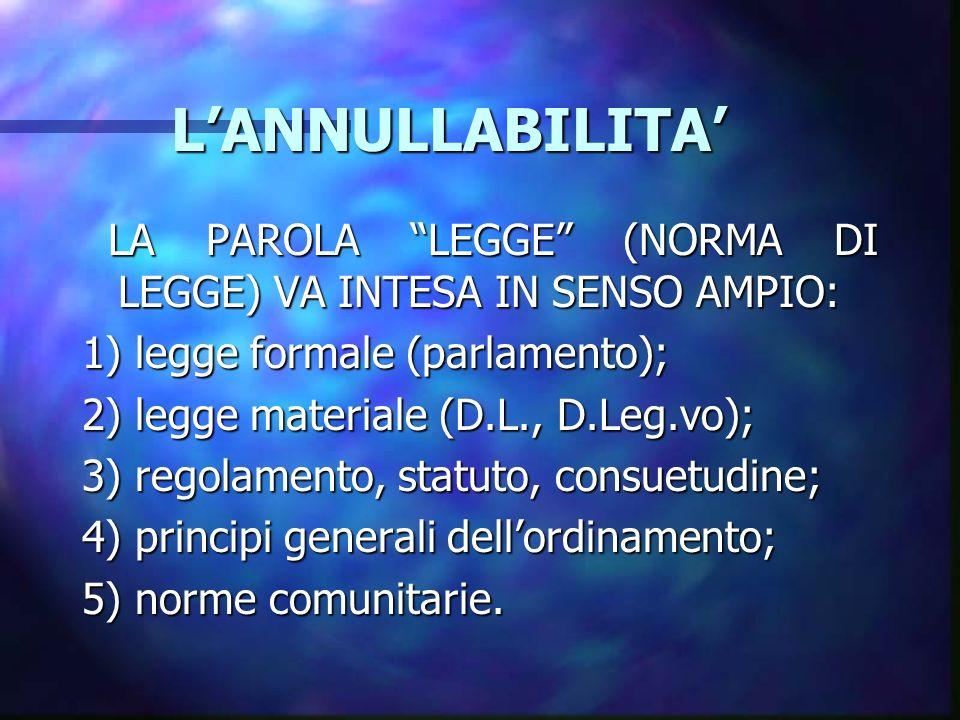 L'ANNULLABILITA' LA PAROLA LEGGE (NORMA DI LEGGE) VA INTESA IN SENSO AMPIO: 1) legge formale (parlamento);