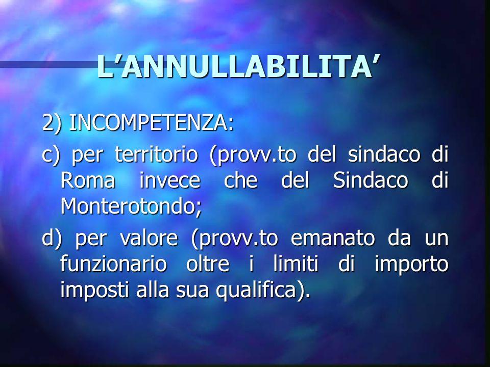 L'ANNULLABILITA' 2) INCOMPETENZA:
