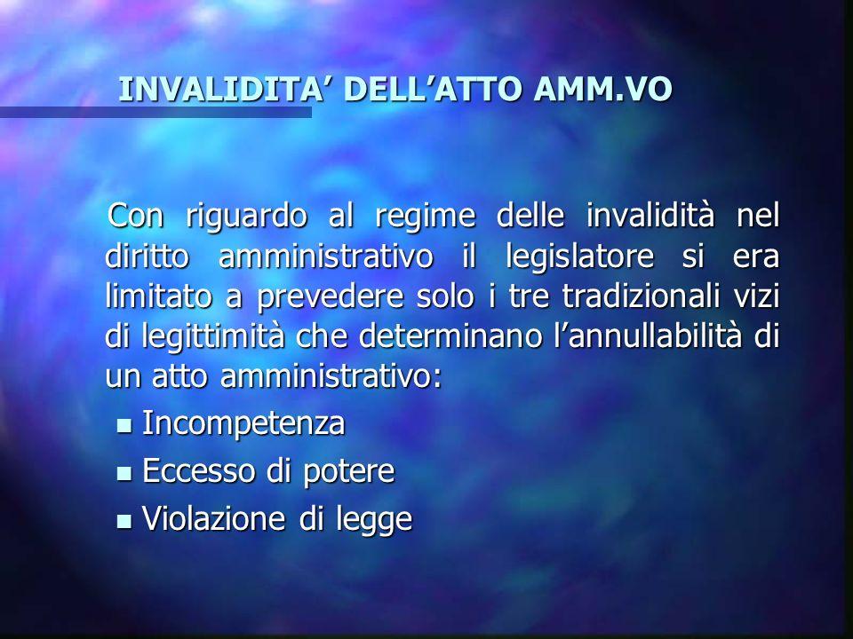 INVALIDITA' DELL'ATTO AMM.VO