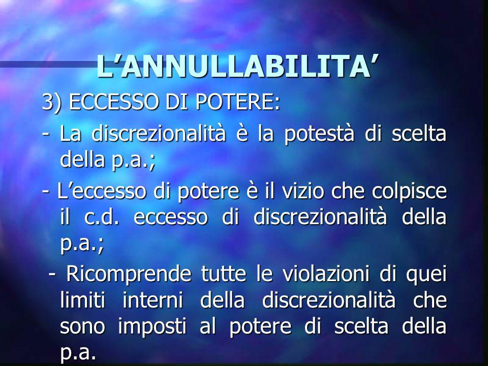 L'ANNULLABILITA' 3) ECCESSO DI POTERE: