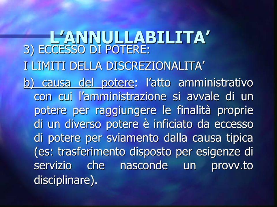 L'ANNULLABILITA' 3) ECCESSO DI POTERE: I LIMITI DELLA DISCREZIONALITA'