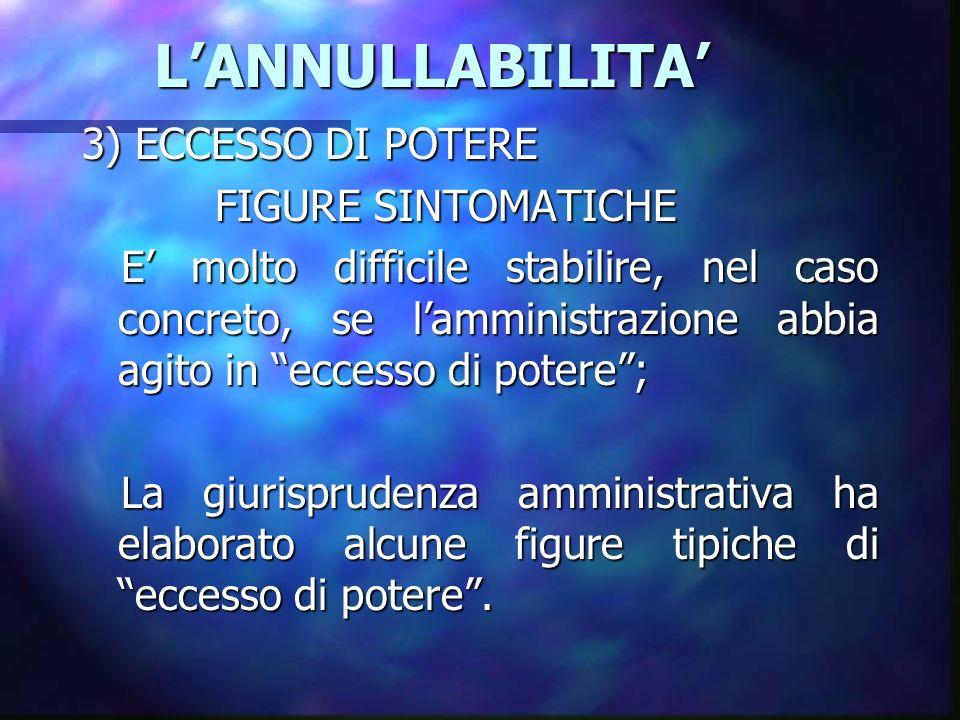 L'ANNULLABILITA' 3) ECCESSO DI POTERE FIGURE SINTOMATICHE