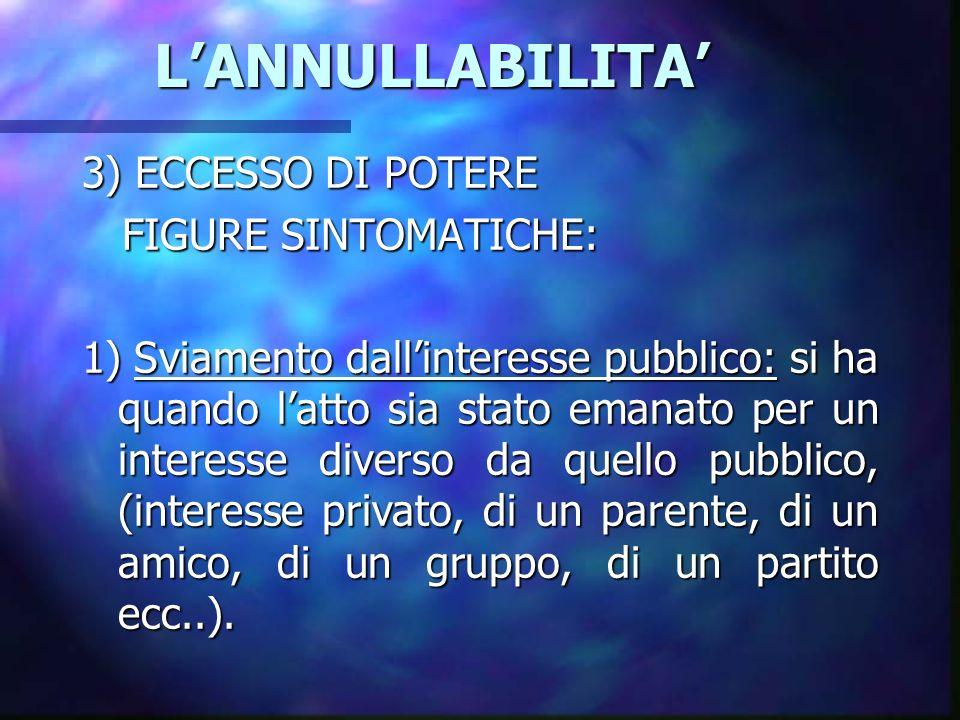 L'ANNULLABILITA' 3) ECCESSO DI POTERE FIGURE SINTOMATICHE: