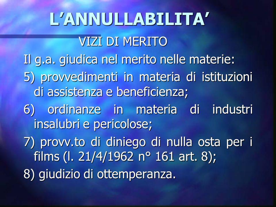 L'ANNULLABILITA' VIZI DI MERITO