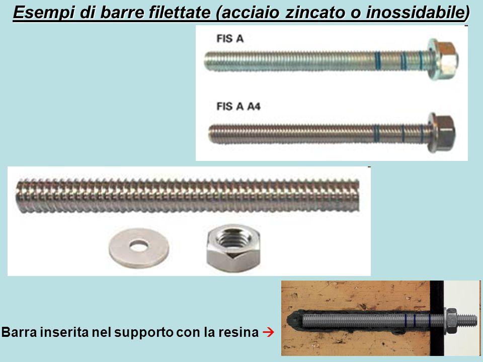 Esempi di barre filettate (acciaio zincato o inossidabile)