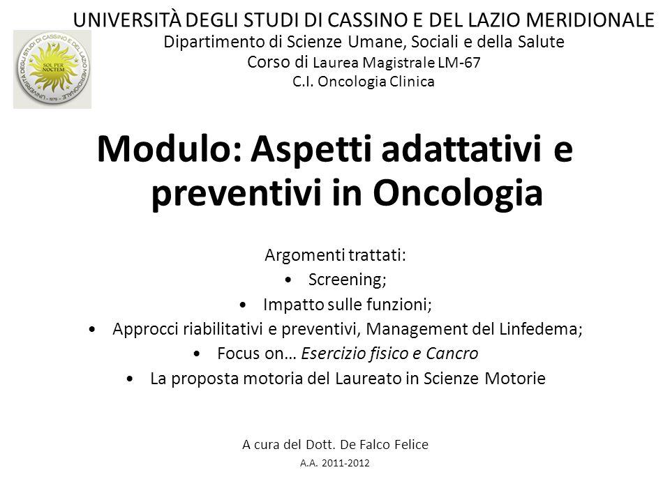 Modulo: Aspetti adattativi e preventivi in Oncologia