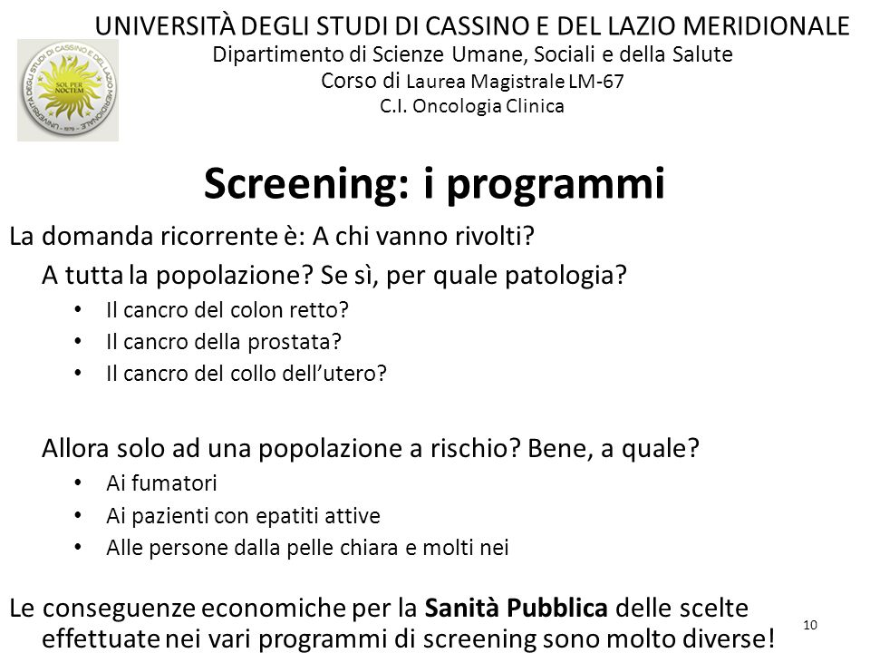 Screening: i programmi