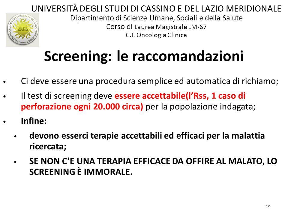 Screening: le raccomandazioni