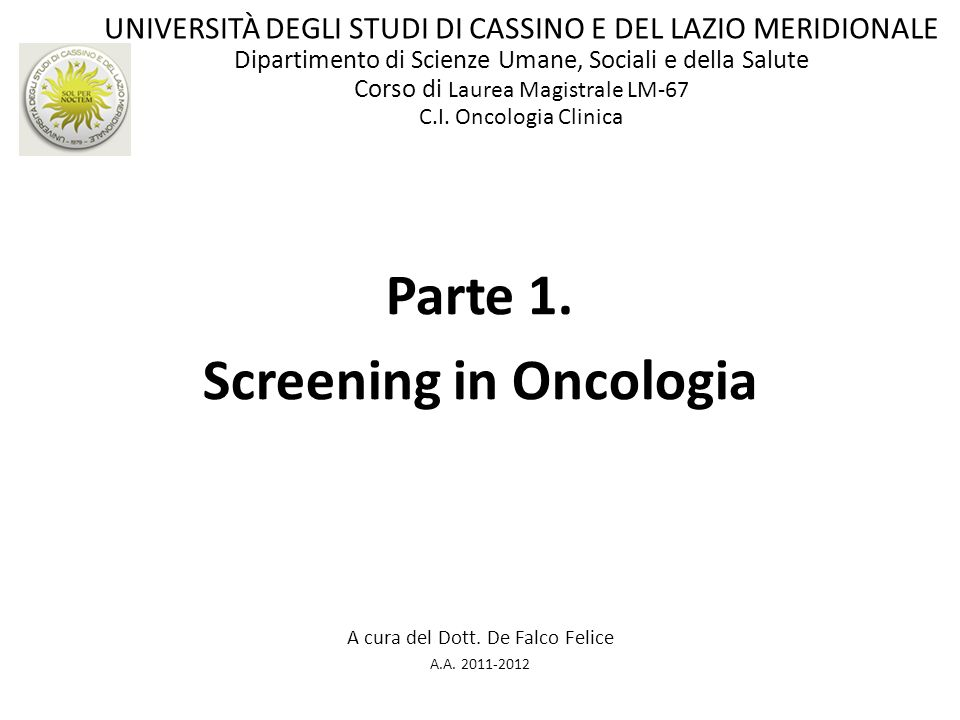 Screening in Oncologia