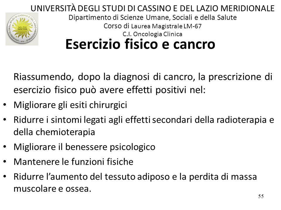 Esercizio fisico e cancro